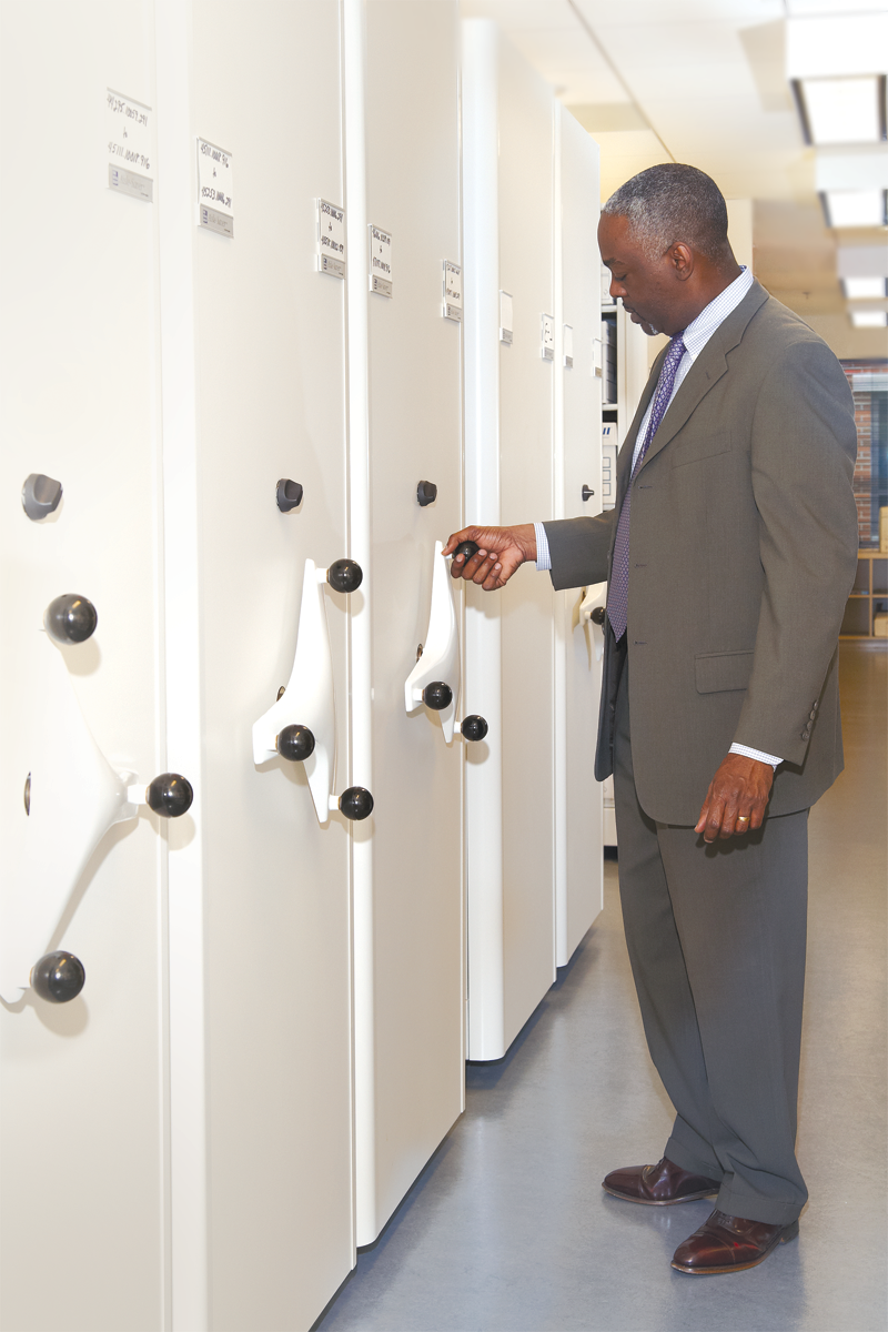 Utilize a high-density mobile storage system to store records, archives, etc.