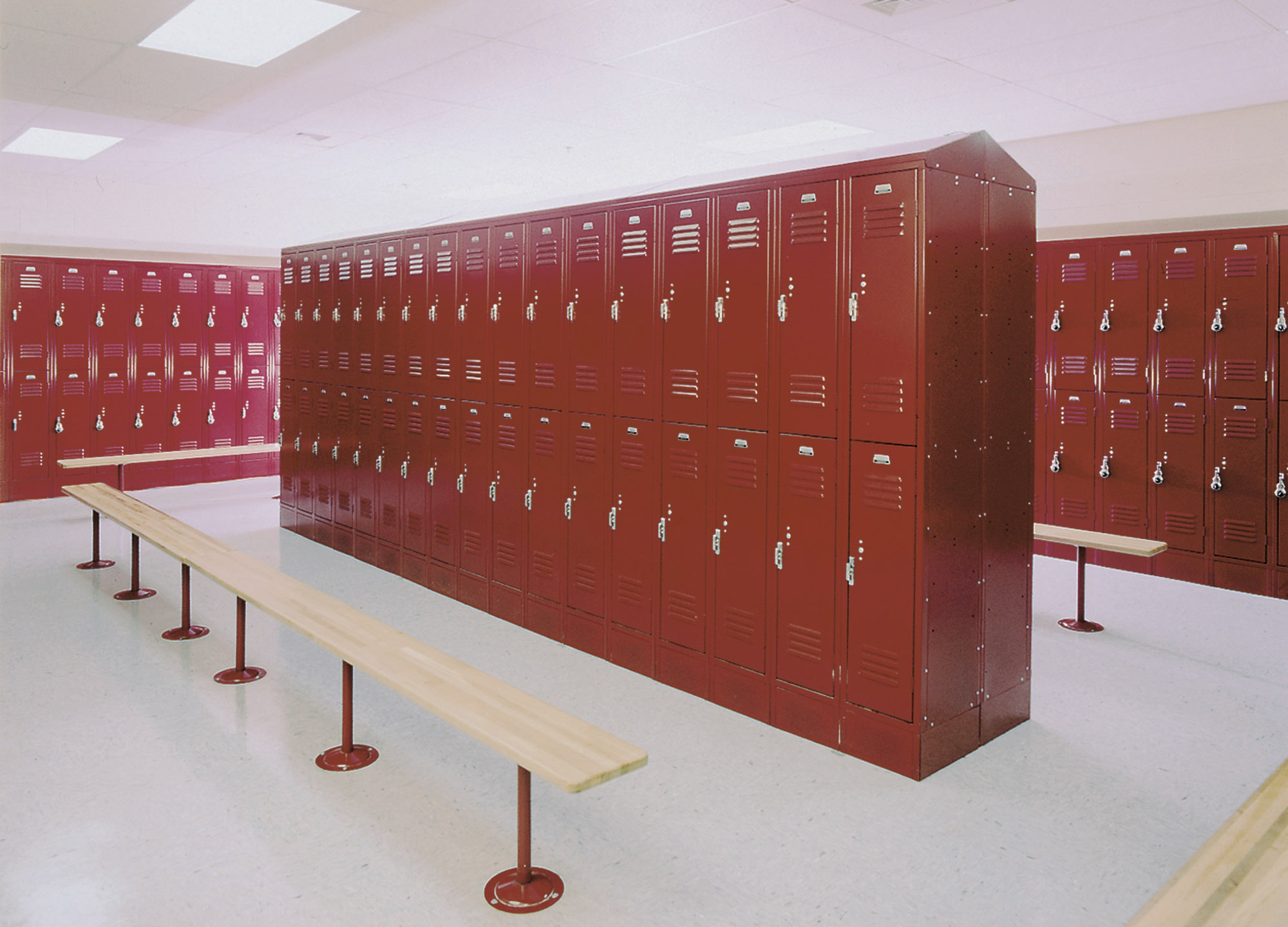 Thousands of steel lockers for schools, offices, and gyms.