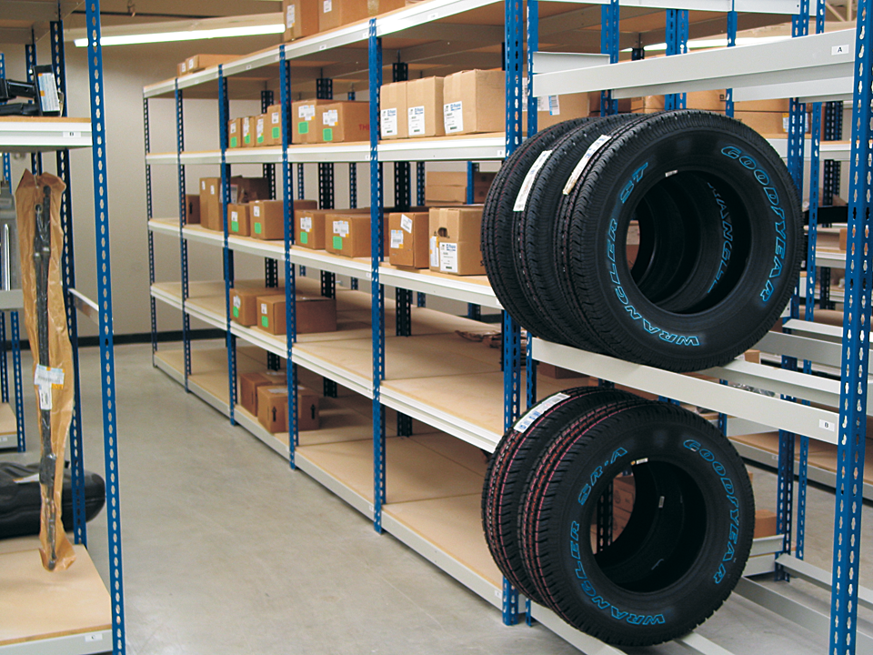 Automotive & Retail Stockroom Shelving - Tire Racking - Multi Tier