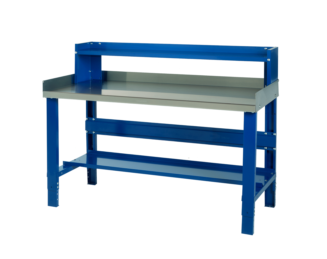 Heavy Duty workbench with shelving unit on top.
